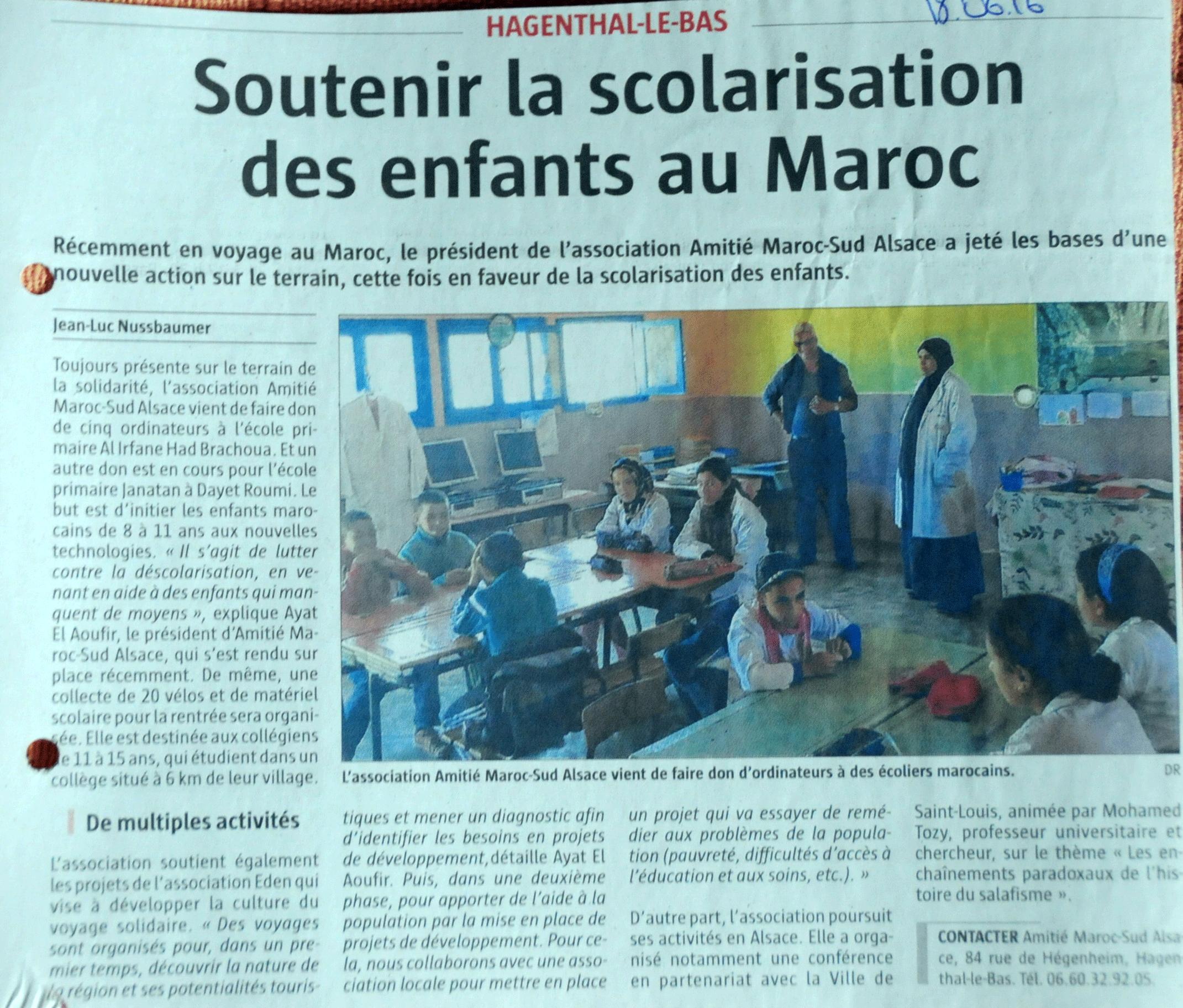 presse soutenir la scolarisation des enfants au maroc